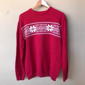 Chaps red Christmas sweater snowflake men's L